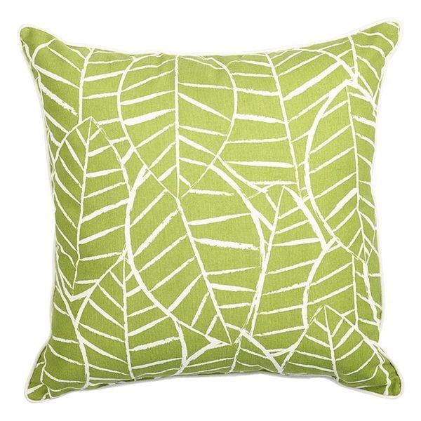 Shop Allen Roth Green Leaf Outdoor Decorative Pillow At Lowe's New Lowes Outdoor Decorative Pillows