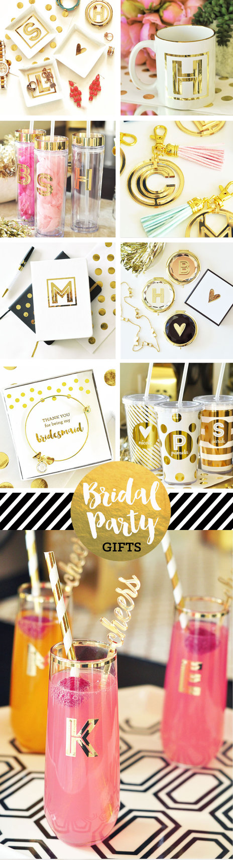 Stemless Champagne Flutes make the perfect Bridesmaid Gift Ideas for your stylish friends! These metallic gold Monogram Glasses are perfect to use at bridal showers, bachelorette parties, or the morning of the wedding! Glasses can double as seating cards & drinking glasses! Your girls will love these and use them well beyond the wedding day - they also make the perfect gift of toasting glasses for the Mr. & Mrs. or give a set as a housewarming gift for the newlyweds with their new monogram…