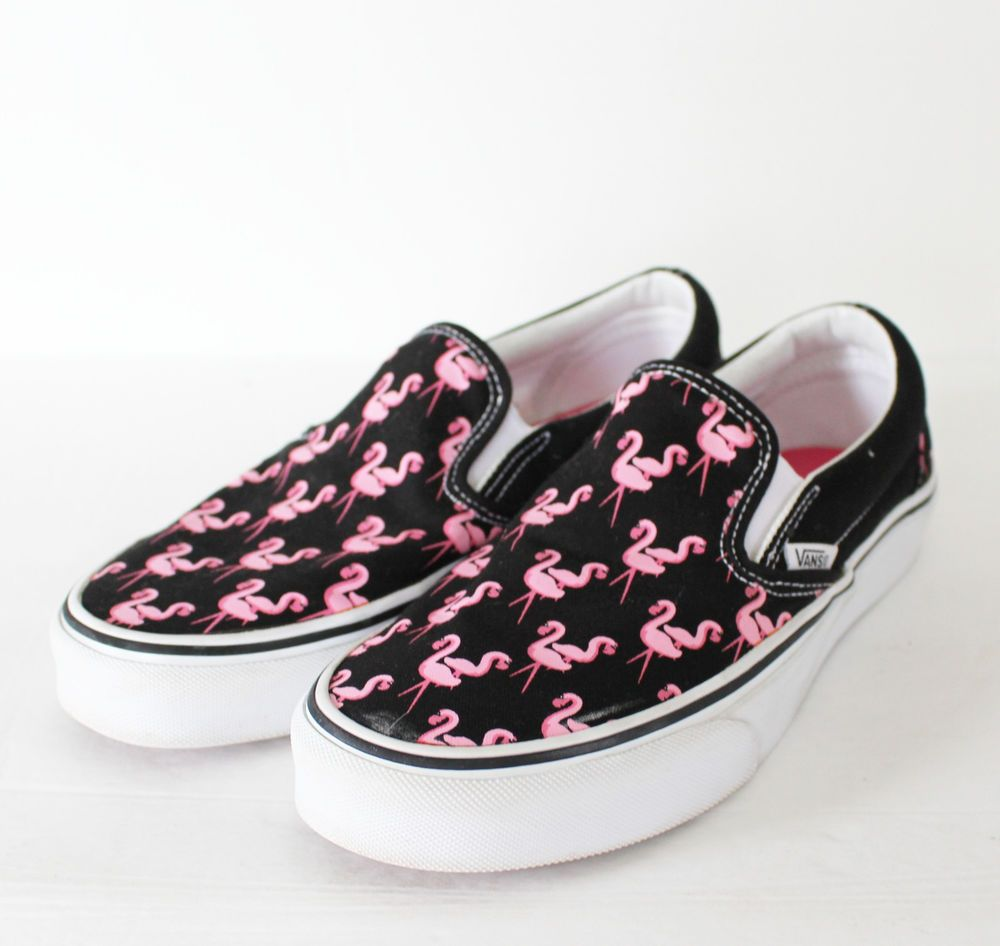 12655492ec Vans Shoes Flamingos Womens 8.5 Mens 7 Black Pink Canvas Off the Wall Slip  On  Vans  Skateboarding