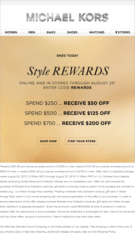 michael kors online coupon code 2019