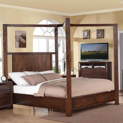 Three Posts Otselic Bella Storage Standard Bed Wood Canopy Bed