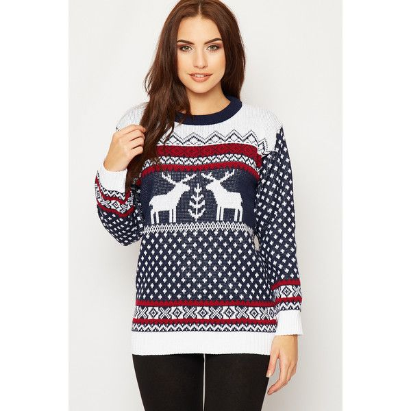 WearAll Plus Size Knitted Fairisle Christmas Jumper ($28) ❤ liked ...