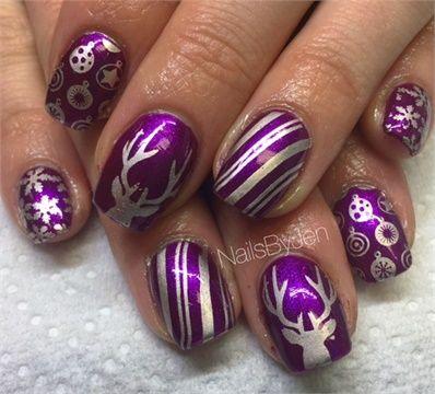 Day 337 Reindeer Games Nail Art In 2018 Christmas Nail Art