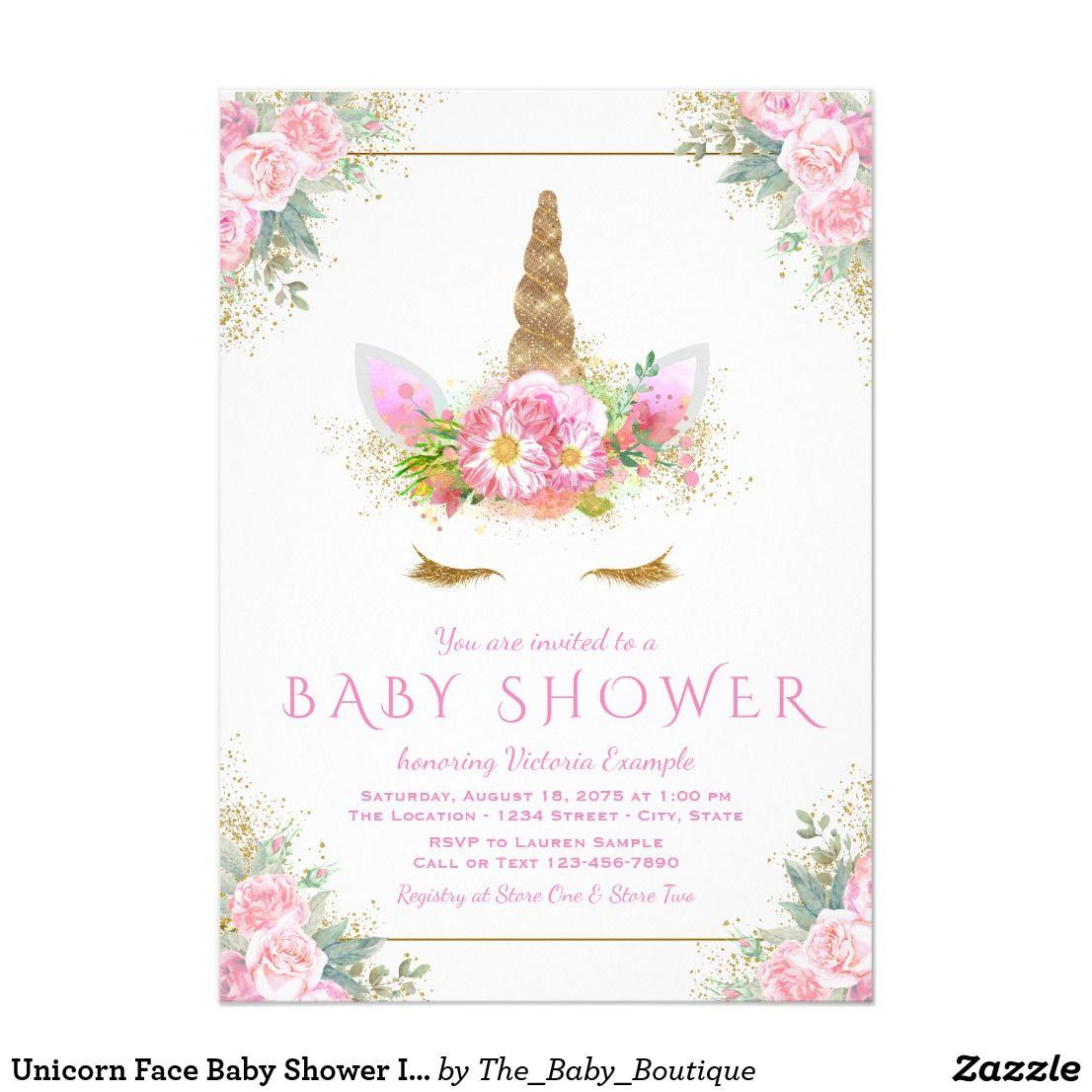 Unicorn Face Baby Shower Invitation | Girl Baby Shower | Pinterest ...