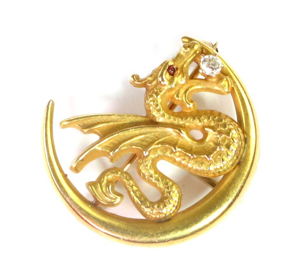Art nouveau watch pin dragon u crescent moon brooch from