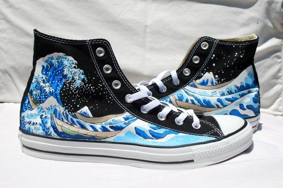 e2602644c6e1 Wedding Hand Painted Converse Shoes - The Great Wave Off Kanagawa -Black
