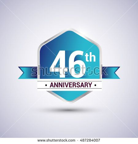 Template Logo 46th anniversary celebration. Blue and silver colored hexagon…