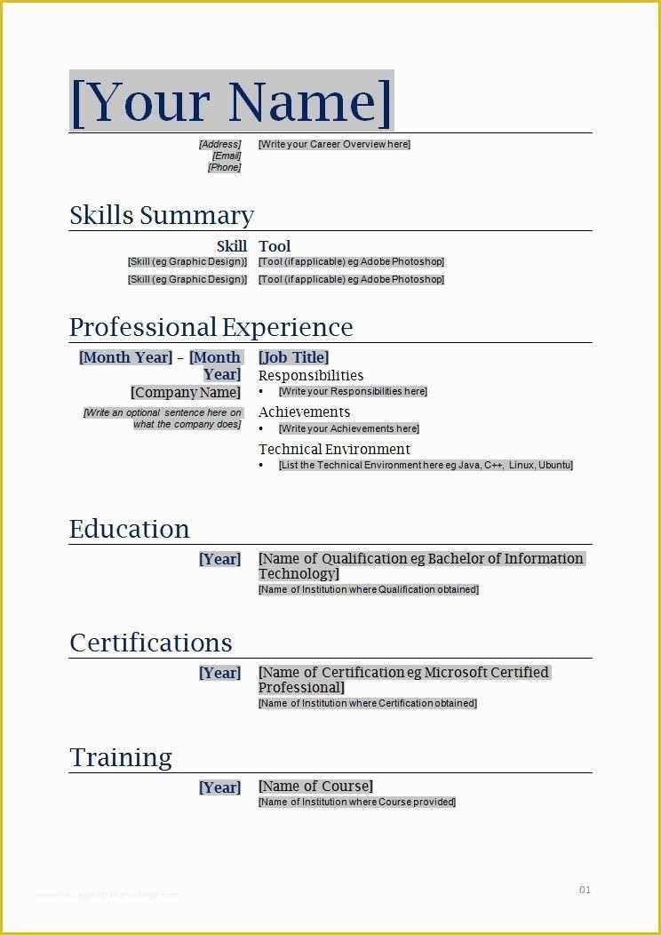 Free Printable Resume Templates Of Free Printable Blank Resume