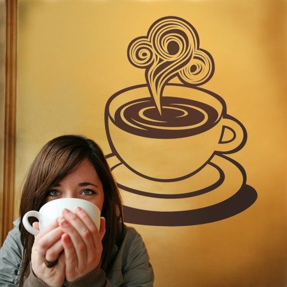 Coffee Wall Decal By Beepart On Etsy CAFFEINE - Custom vinyl wall decals coffee