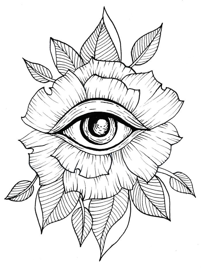 Flower, Eye, Tattoo, Line Art, Flash Art, Leaves, Leaf
