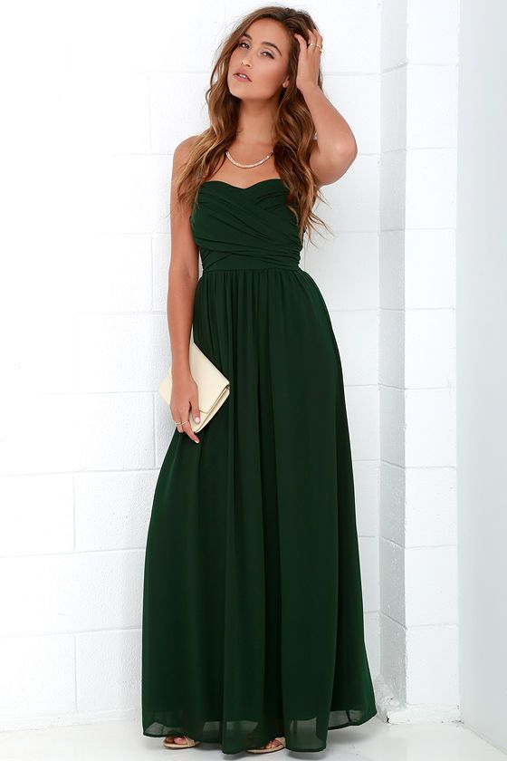 40eb8090bf Royal Engagement Strapless Dark Green Maxi Dress at Lulus.com!