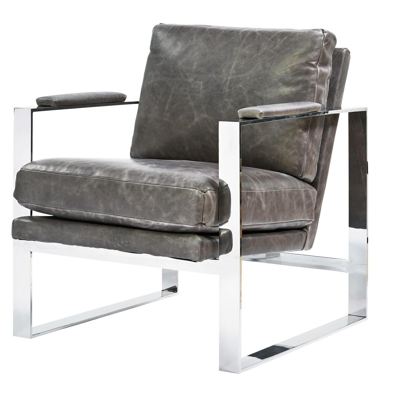 Elan Mid Century Modern Grey Leather Metal Arm Chair Universal