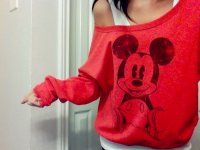 Off the shoulder mickey mouse shirt