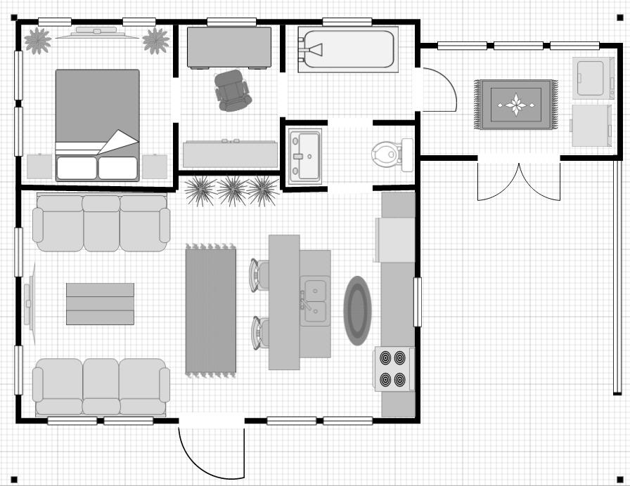 24x24 1br 1ba Efficient Small Home Design The Size Of Most Apartments Unique Jack N Jill Half Bath Small House Design House Floor Plans Small House Plans