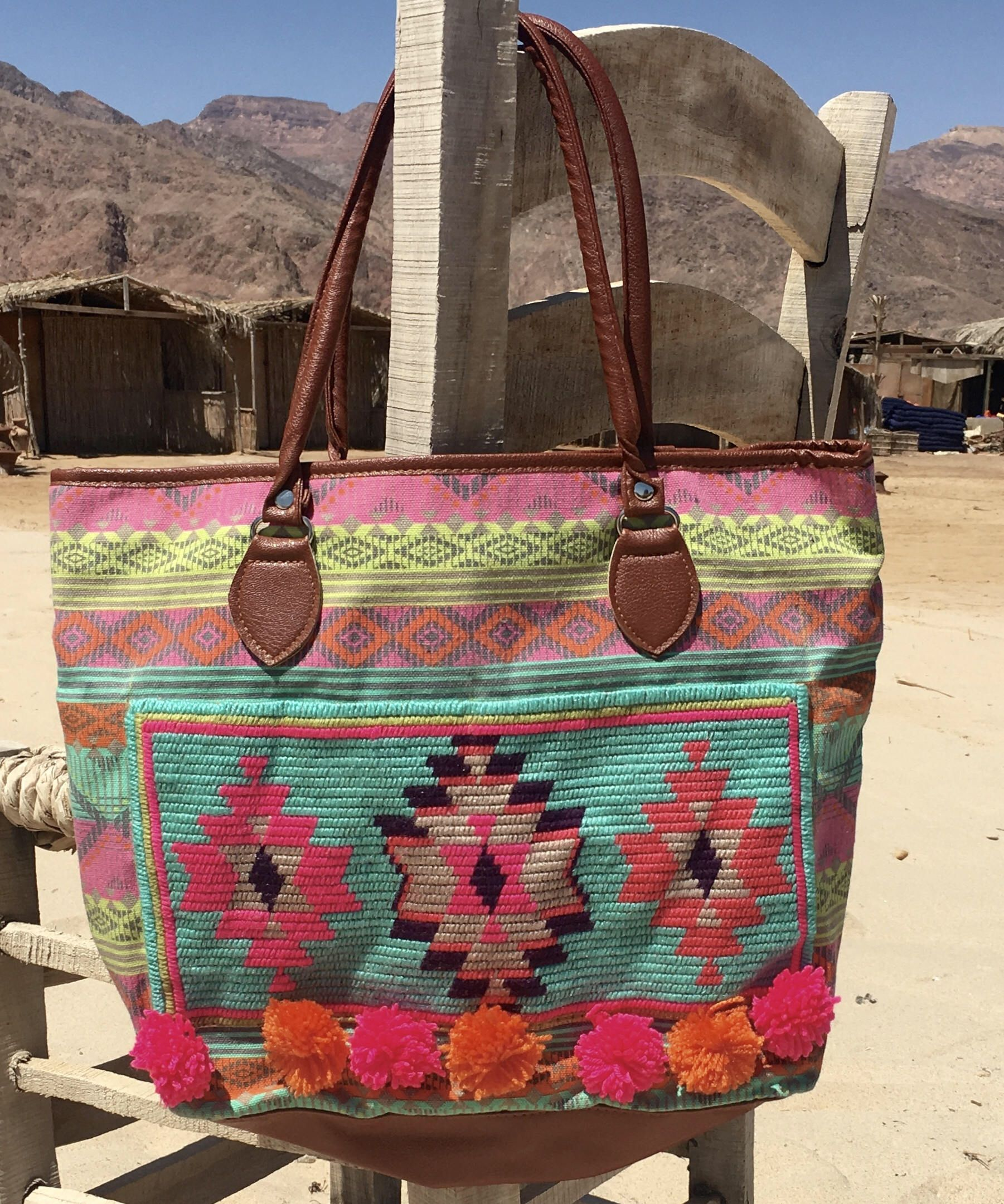 Bag. Spacious shopper with cross stitch kilim pattern. Present for ...