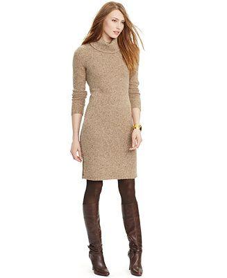 0c9eb4da0eb Lauren Ralph Lauren Petite Turtleneck Sweater Dress - Dresses - Women -  Macy s
