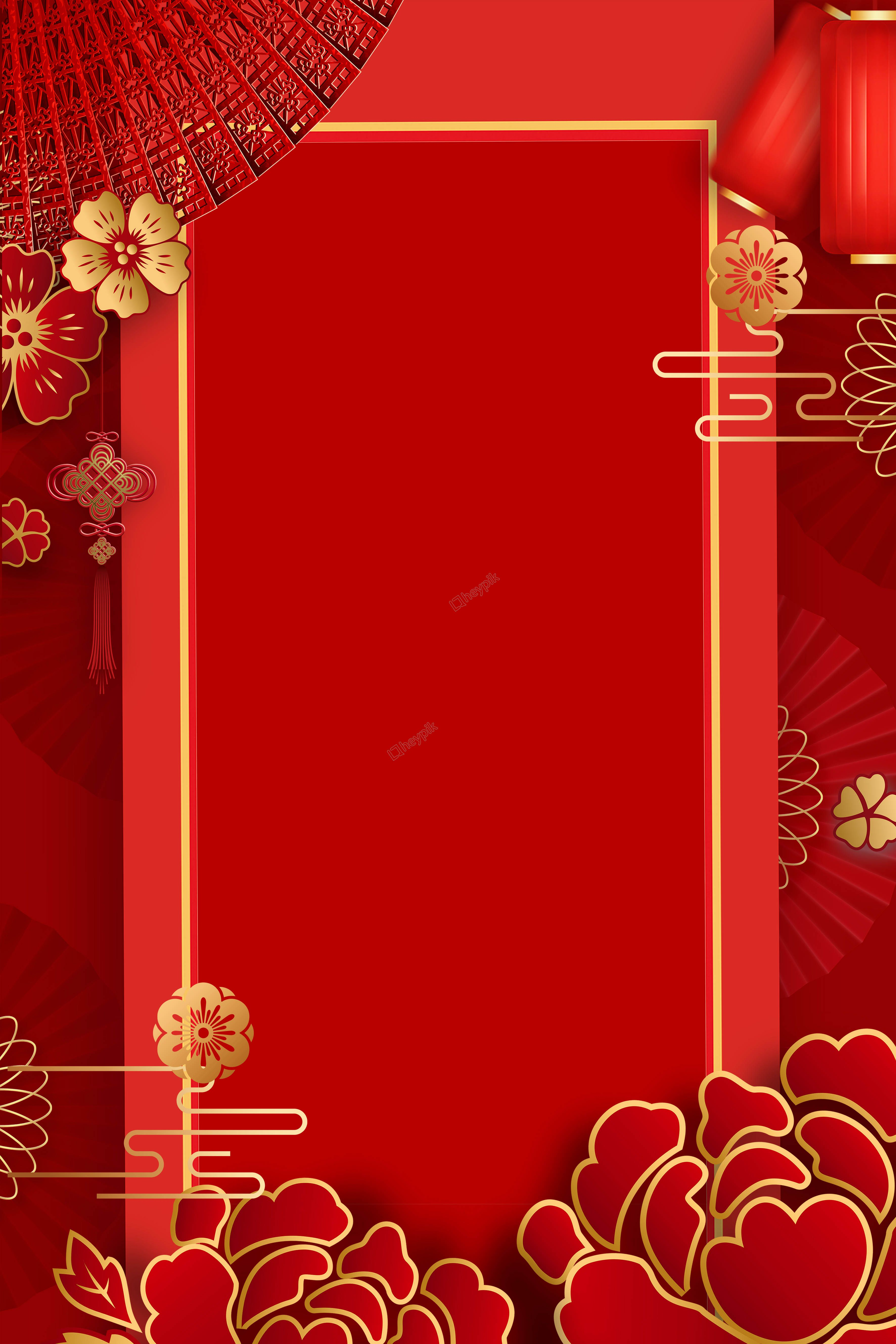 New year festive red flowers poster background Flower