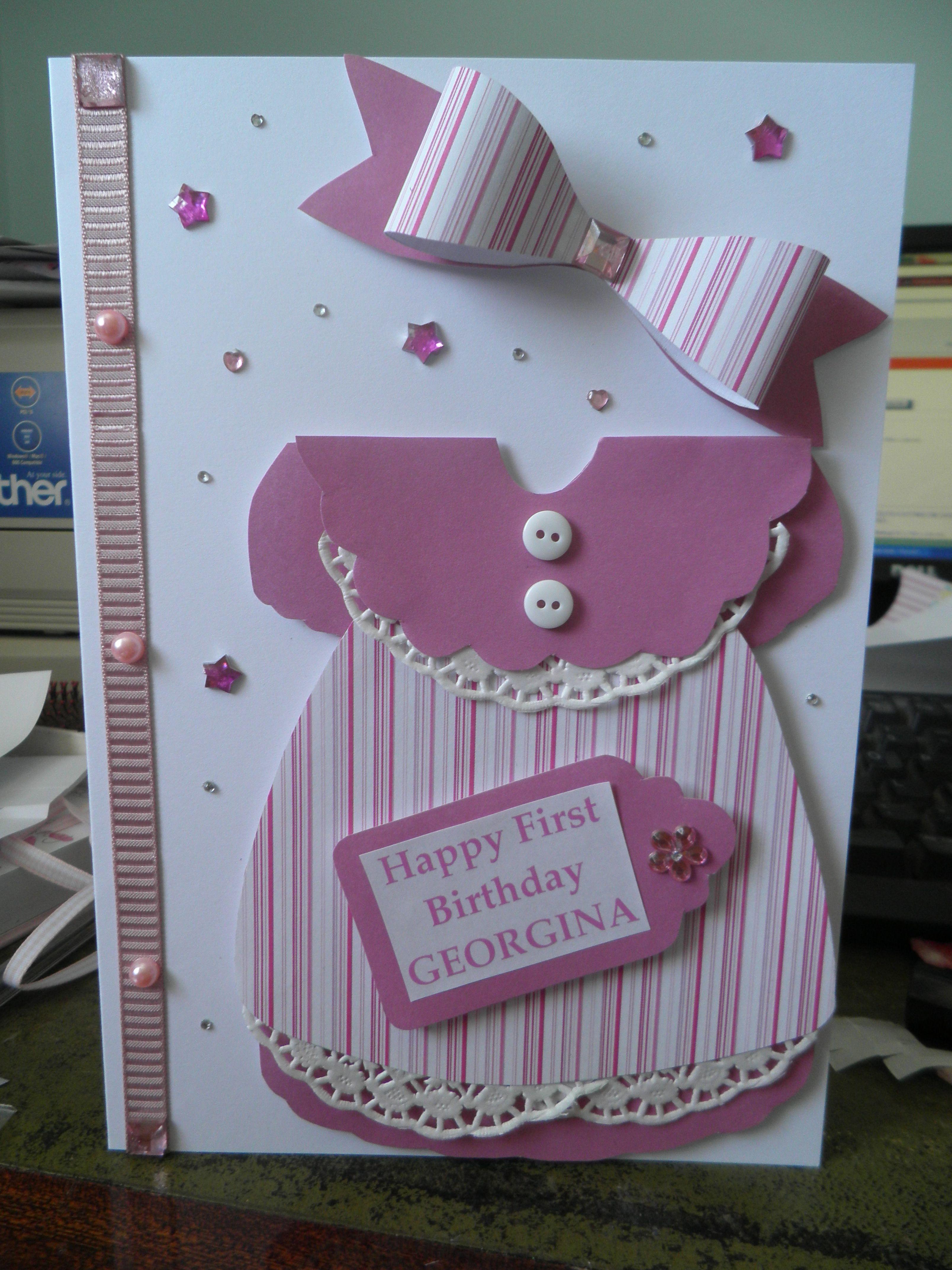 Baby girl 1st birthday dress card cards pinterest dress baby girl 1st birthday dress card kristyandbryce Gallery