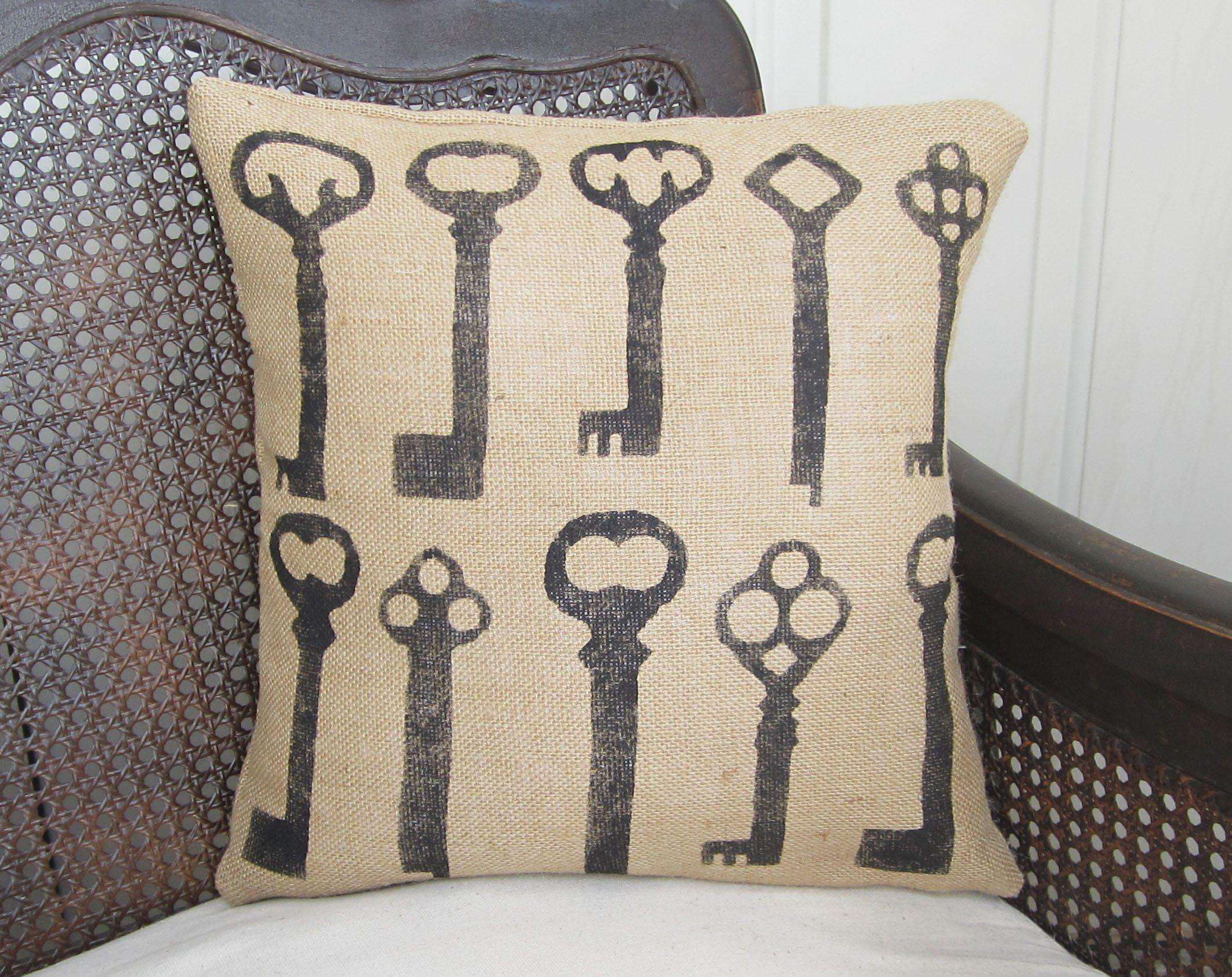 Skeleton Key - Burlap Pillow - 16x16 - Insert Included. This ...