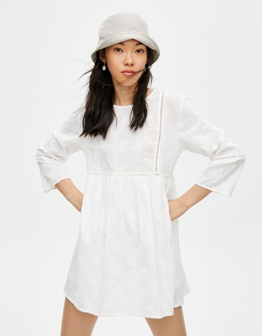 vestido corto blanco bordados - pull&bear | kleider, weiße