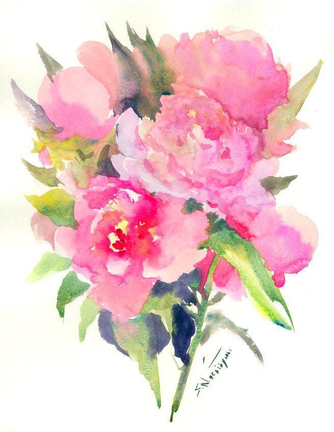 Peonies Original Large Watercolor Impressionist Painting Modern