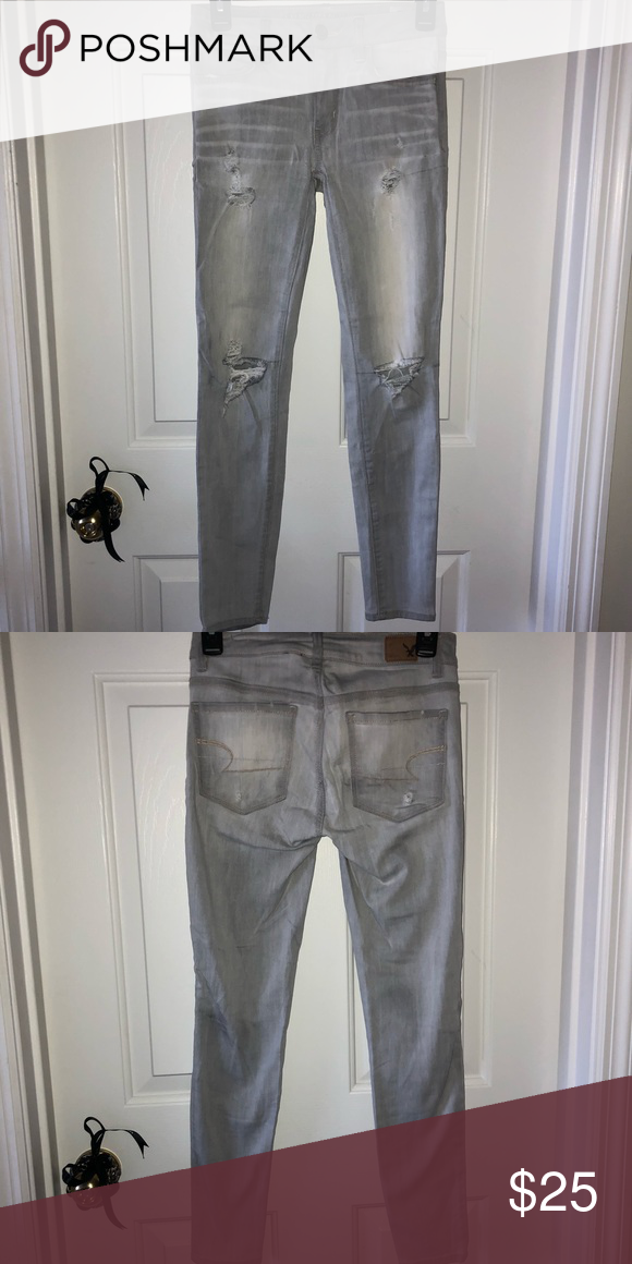 85eb9cf137 American Eagle Gray Distressed Jeans gray distressed jeans American Eagle  Outfitters Jeans Skinny