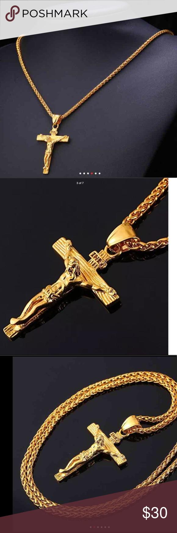 New 18k gold cross necklace for men nwt new 18k gold cross necklace for men new 18kyellow gold filled inri jesus piece cross pendant aloadofball Images