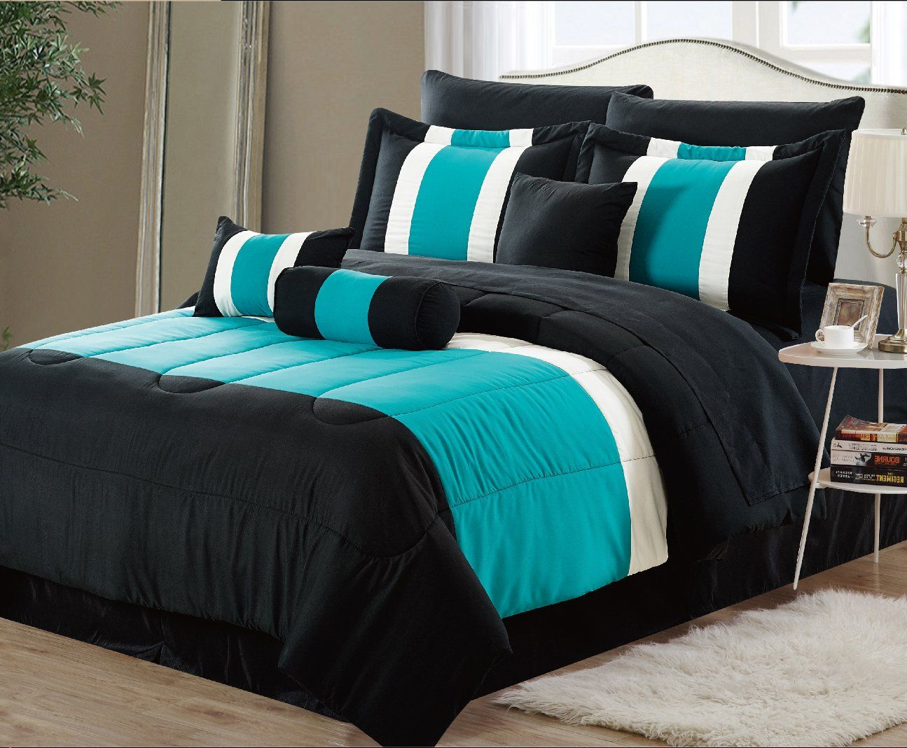 11 Piece Oversized Teal Blue And Black Comforter Set Bedding With Sheet Set California King More I Black Comforter Sets Blue Comforter Sets Comforter Sets Cheap bedding sets queen