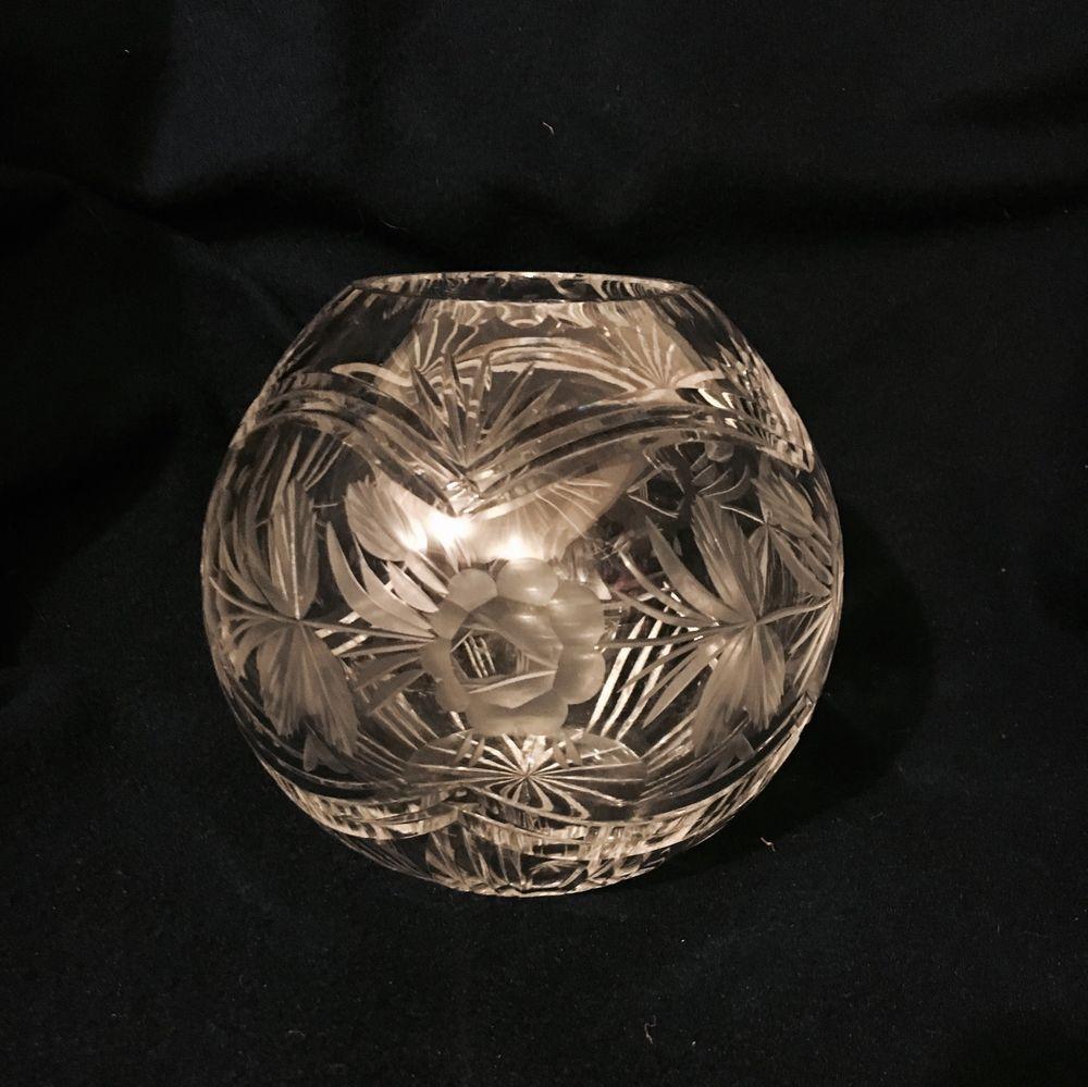 Vintage bohemian czech cut etched crystal rose round bowl globe vintage bohemian czech cut etched crystal rose round bowl globe vase 6 high reviewsmspy