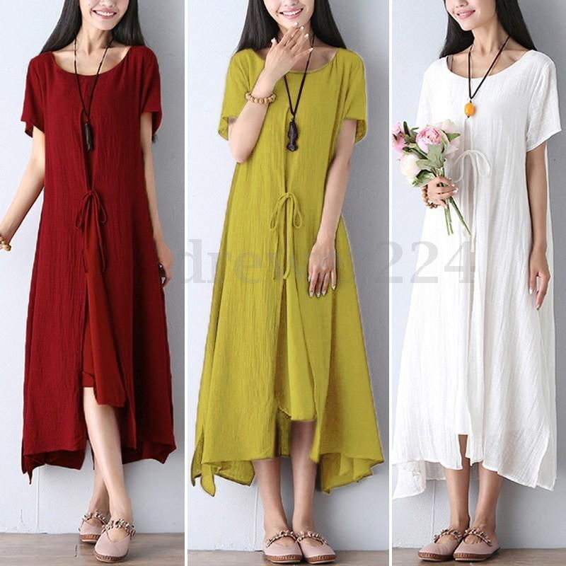 99a3d6d9708f59 ZANZEA Mori Girl Original Women Cotton Short Sleeve Loose Long Skirt Maxi  Dress