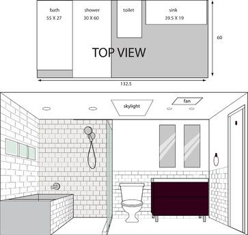 illustrated layout for bathroom - modern - drawings - los ...