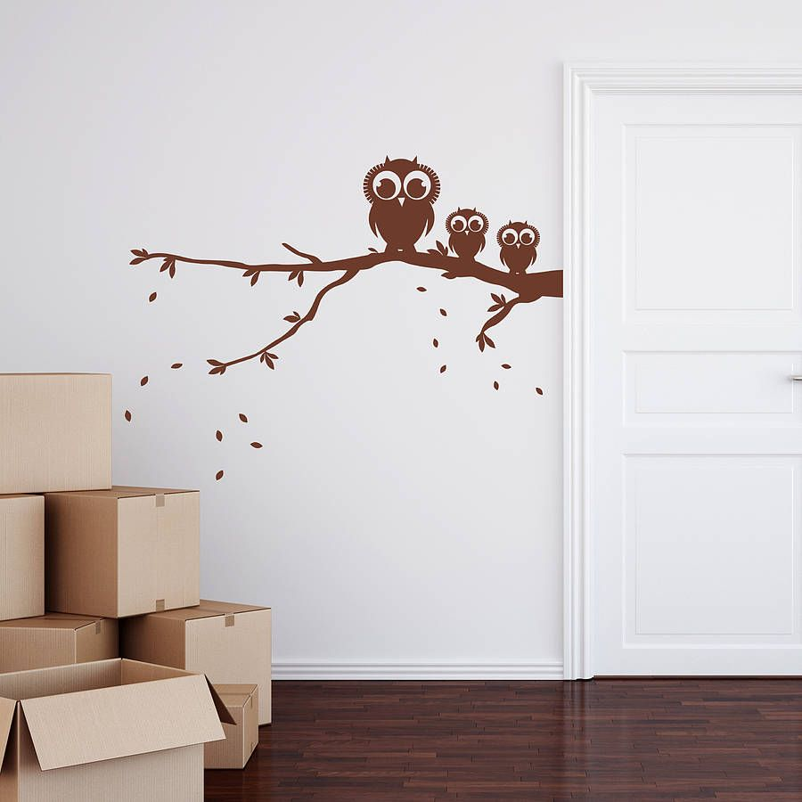 Owls on a branch wall sticker wall sticker walls and decorating inspiration webshop notonthehighstreet decorate a room with this wall sticker with amipublicfo Gallery