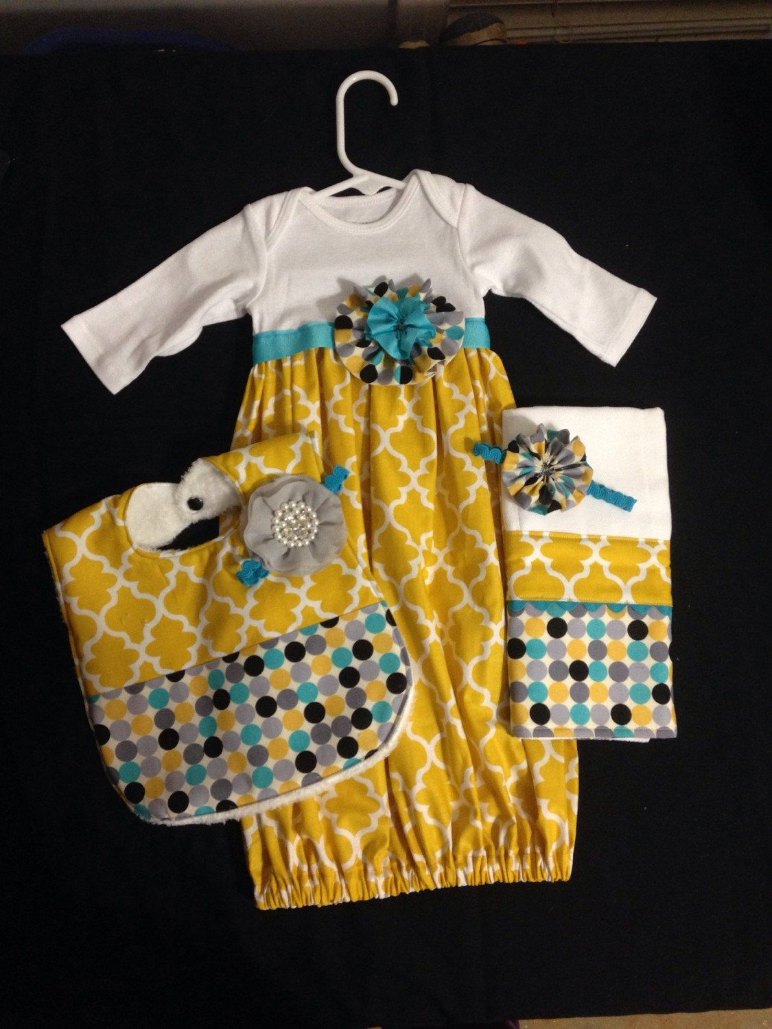 Handmade baby gown and matching accessories by CutiePatootieKiddos ...