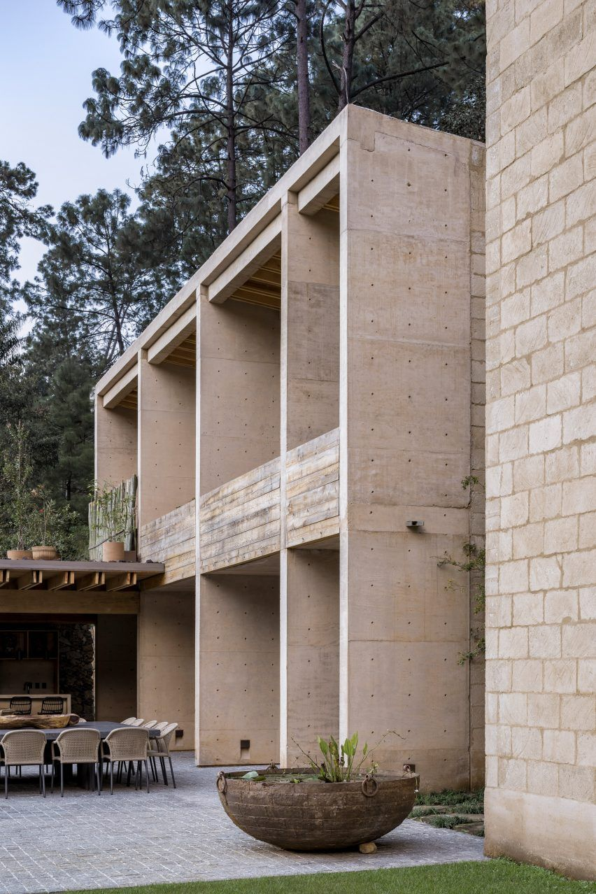 Exterior Walls Are Made Of Concrete And Pine Along With Mud Bricks That Were Produced In A Nearby Quarry Soffits Ar In 2020 Small Apartment Building Brick Wall Brick