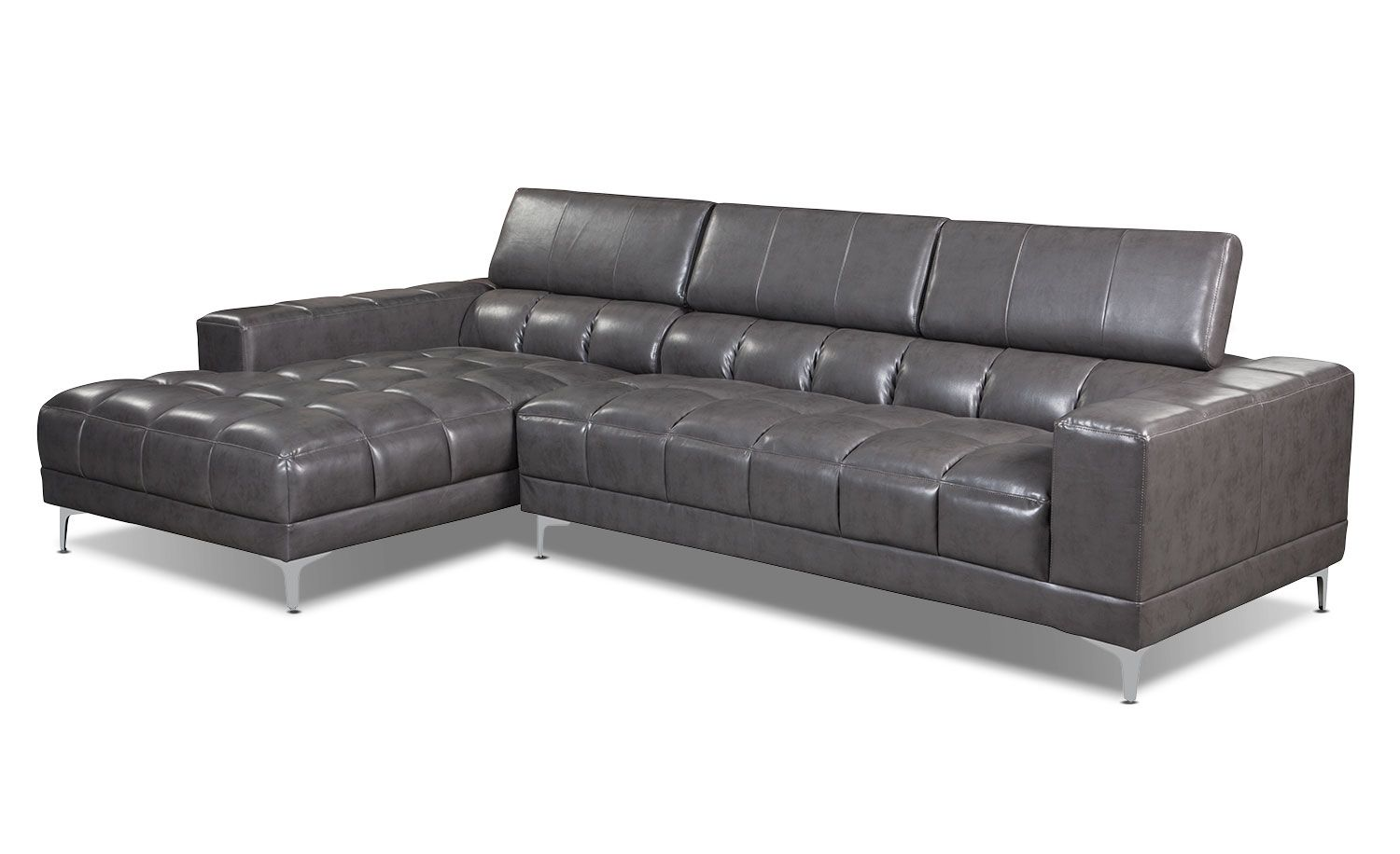 Zippa 2-Piece Bonded Leather Left-Facing Sectional u2013 Grey | The Brick  sc 1 st  Pinterest : the brick leather sectional - Sectionals, Sofas & Couches