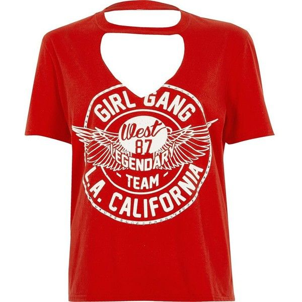 b3ce7d81874 River Island Petite red 'girl gang' choker neck T-shirt ($20) ❤ liked on Polyvore  featuring tops, t-shirts, red, sale, t-shirts & vests, women, tall t ...