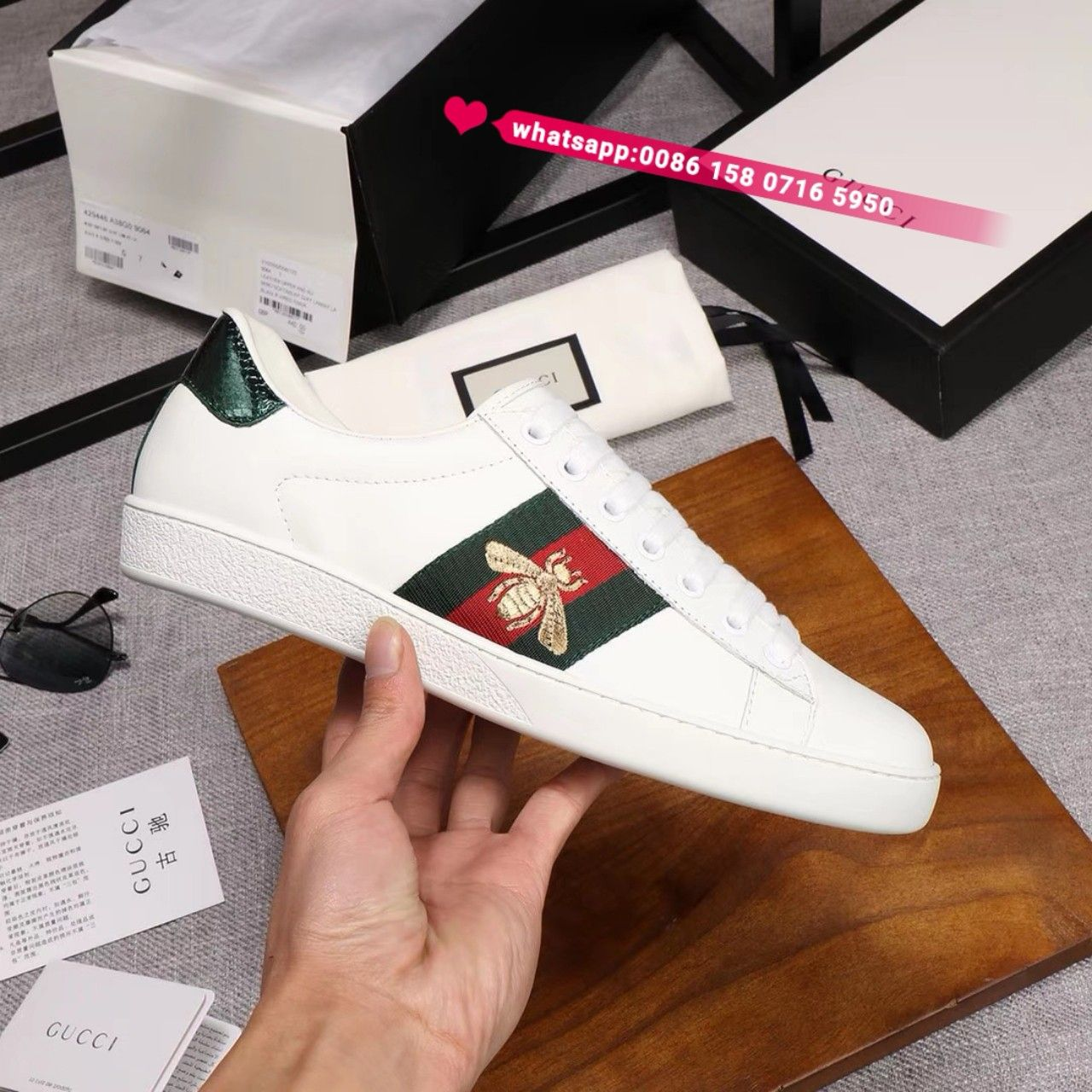 Gucci bee sneakers men sneakers white