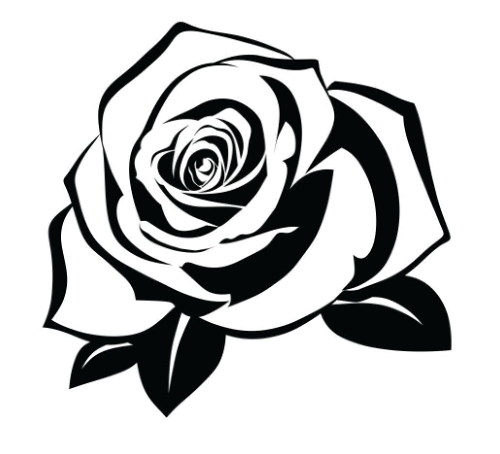 Rose Temporary Tattoo Pack Of 2 Black Silhouette Roses Drawing Rose Stencil