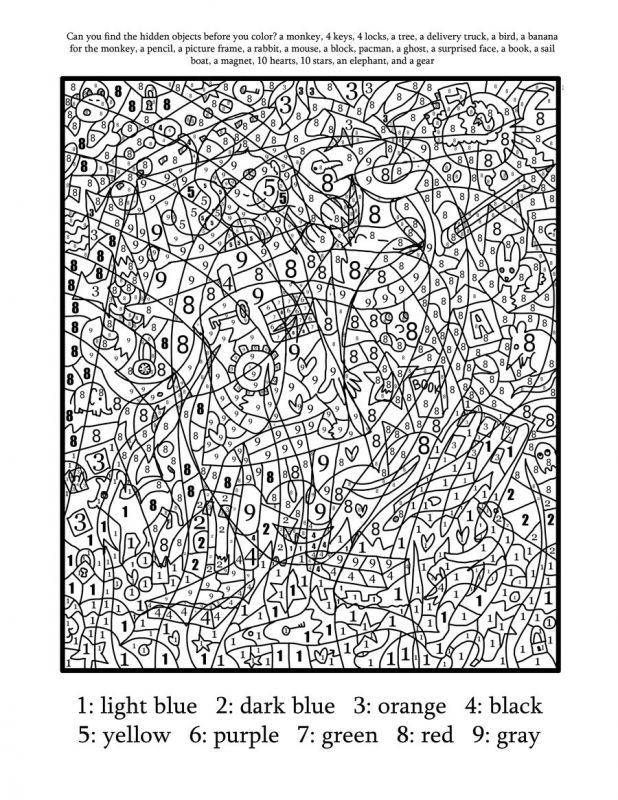Difficult Color Number Printables Az Coloring Pages hard color by ...