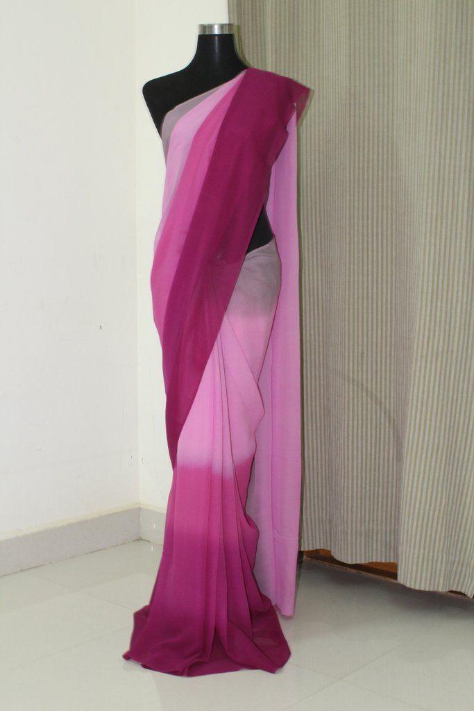 Pure silk georgette in multi shade saree
