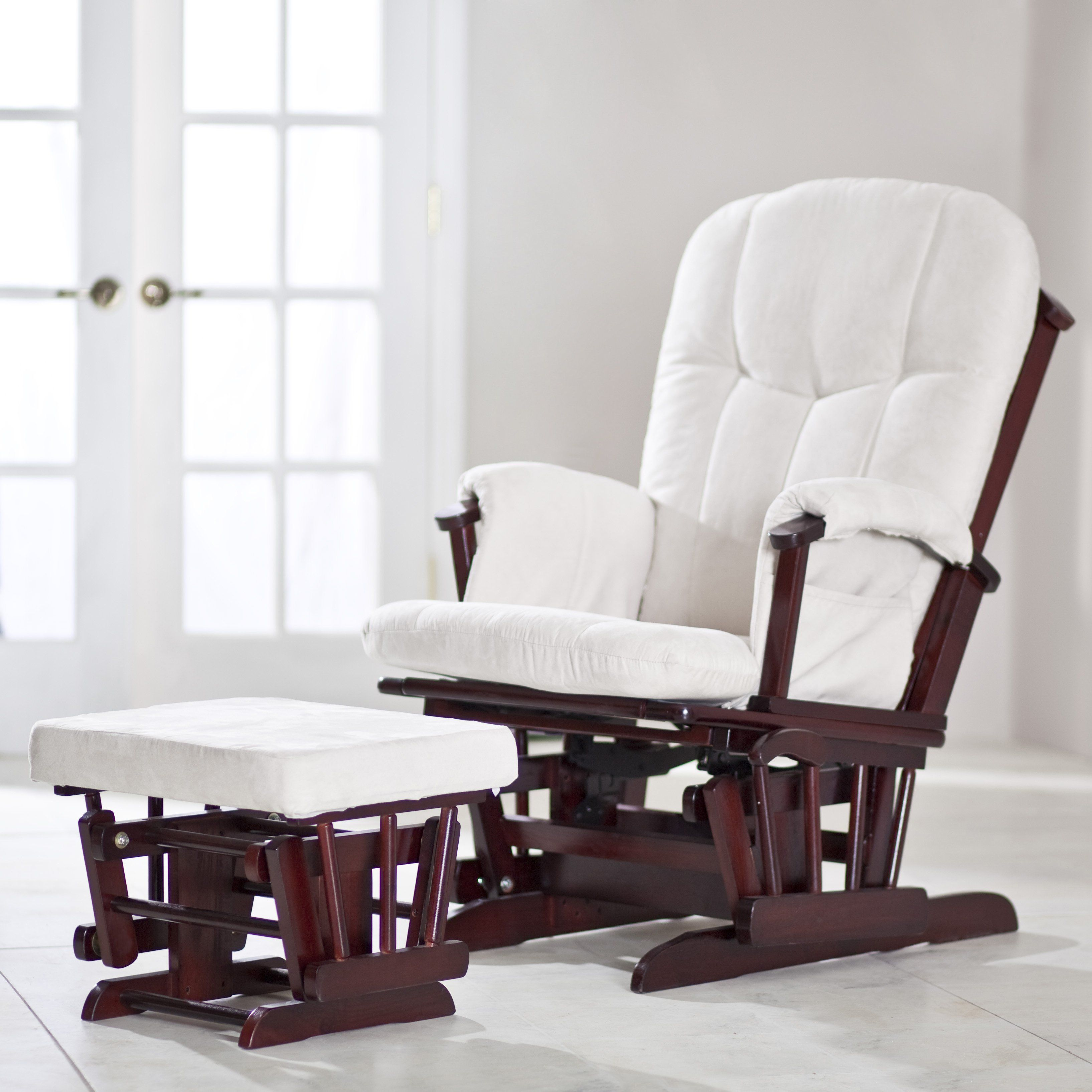 Amish Four Post Gliding Rocker With Ottoman Glider Rocking Chair