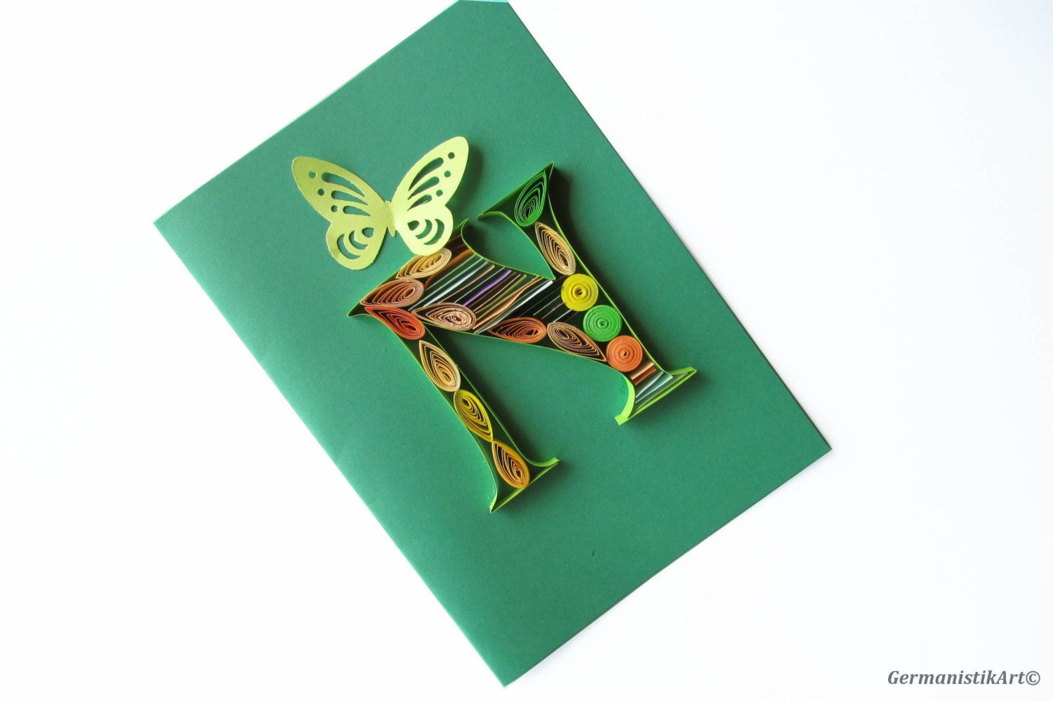 Paper Quilling N Monogram Birthday Card Name Day Gift Initial