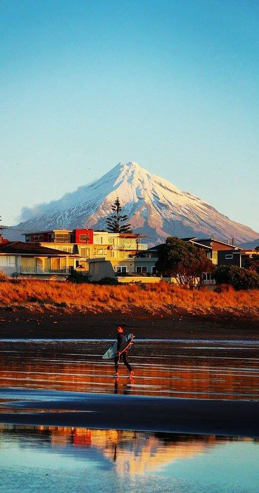 Taranaki, New Zealand. A place where you can surf and ski on the same day!