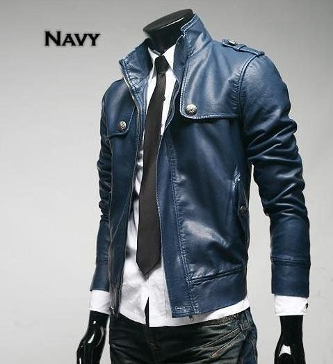 Navy Blue Mens Leather Jacket On Sale | Potential props ...