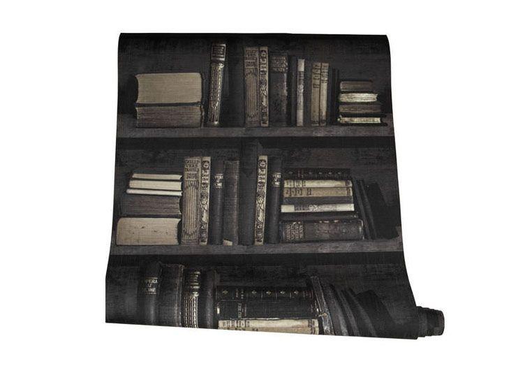 Papier Peint Trompe L Oeil Bibliotheque Noir Les Esthetes Deco