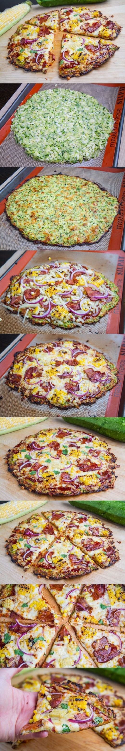 Zucchini Pizza Crust (with Chipotle BBQ Bacon and Grilled Corn Pizza) - Closet Cooking