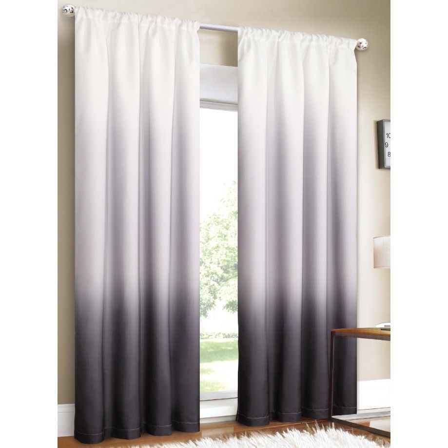 Grayson silver gray jacquard fabric cloth bathroom bath shower curtain - Update Your Decor With These Distinctive Ombre Curtain Panels The Rod Pocket Header Works With