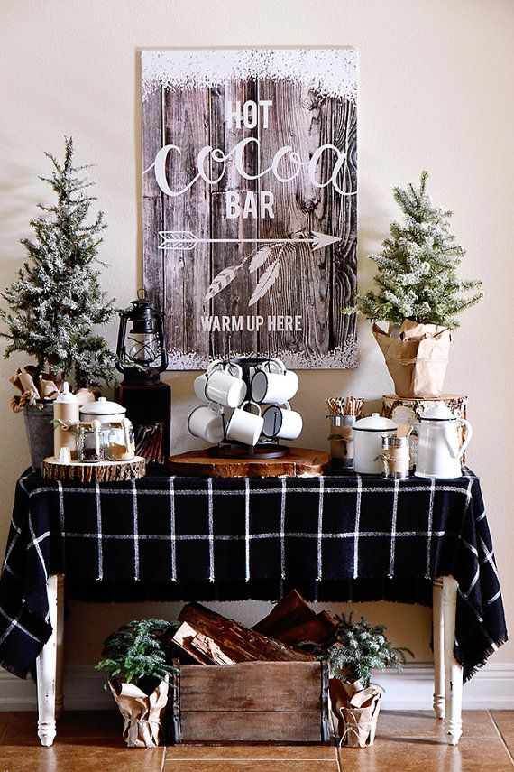 This charming Cabin in the Woods themed Hot Cocoa Bar Sign is perfect for parties, weddings, events or even just to have in your home for your family and friends to enjoy throughout the chilly months of Fall and Winter. See more photos to show you how to create your own Hot Cocoa #hotchocolatebar