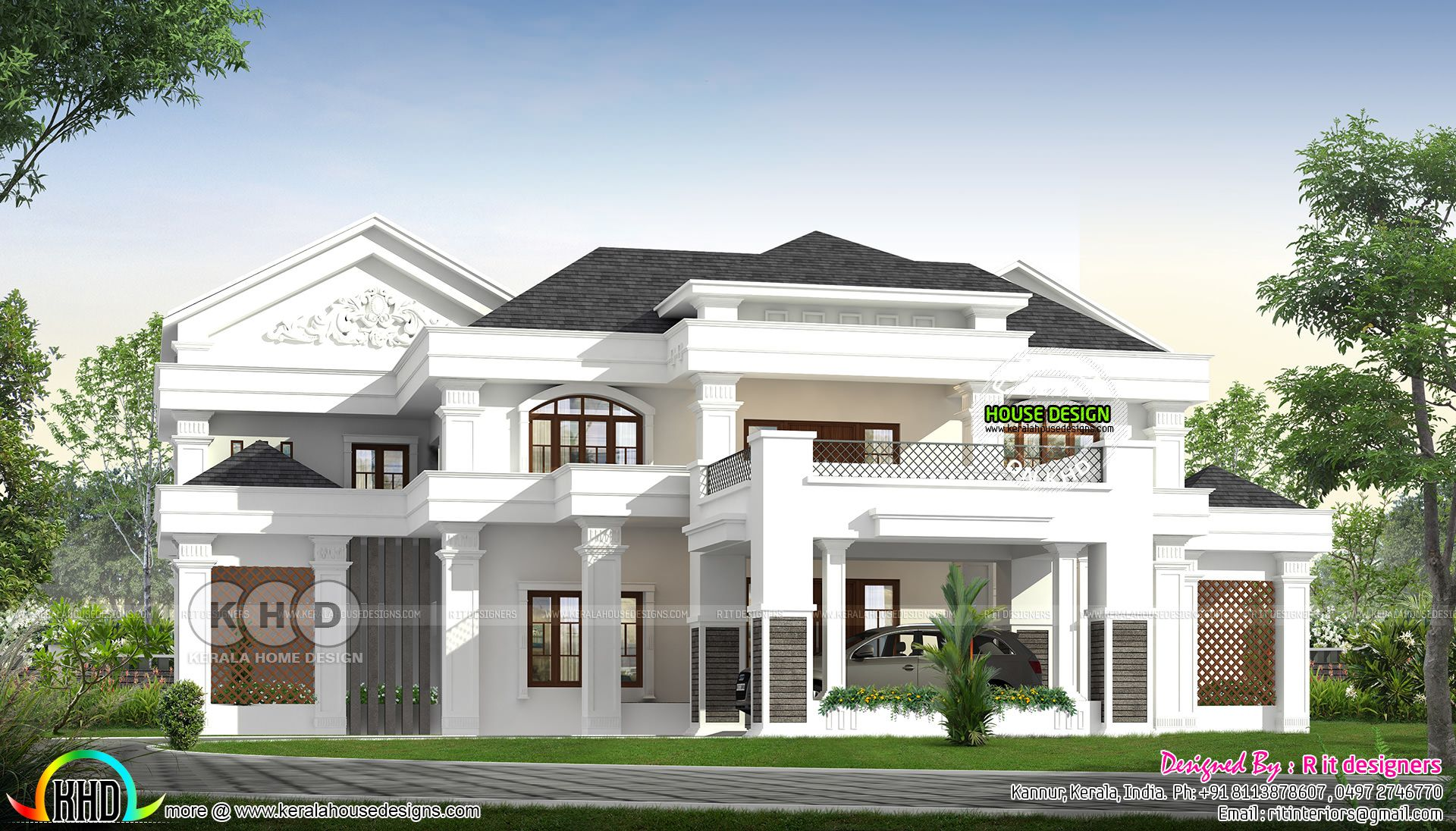 4433 Square Feet 5 Bedroom Colonial Mix House Plan Kerala House Design House Front Design Classic House Design