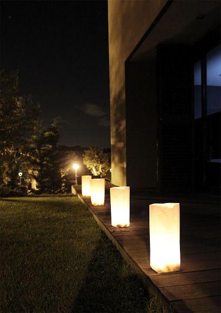 Bolsitas arena iluminación exterior jardines Pinterest Bodas
